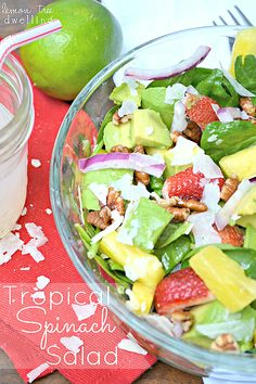 Tropical Spinach Salad with Sweet Lime Vinaigrette... I am so making this!  lemontreedwelling.com