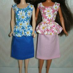 """Handmade 11.5"""" Fashion doll clothes -  Your choice - blue or pink and white daisy top with skirt"""