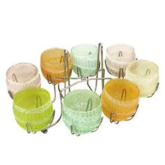 Retro Roly Poly Caddy Set, Mid Century Spaghetti String Barware, Colour Craft Vintage item from the 1950s Materials: Plastisol Coating, Glass Ships from Canada to select countries.