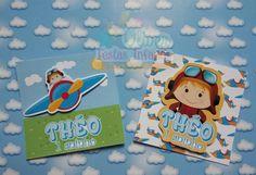 Adesivos para caixa acrílica Tema Aviador by Oliver Festas Infantis.
