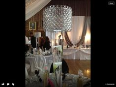 Centrepieces, background shows head table Centrepieces, Chandelier, Ceiling Lights, Lighting, Table, Wedding, Home Decor, Casamento, Homemade Home Decor