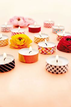 Stick colourful washi tape around the edge of tealights to create an intimate and cosy feel at your wedding, as seen on BridesMagazine.co.uk (BridesMagazine.co.uk)