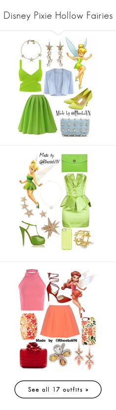 """Disney Pixie Hollow Fairies"" by rheebavn ❤ liked on Polyvore featuring Chicwish, Deux Lux, Shubette, Ben-Amun, Michael Kors, Fathead, Thierry Mugler, Giuseppe Zanotti, Hermès and Nayla Arida"