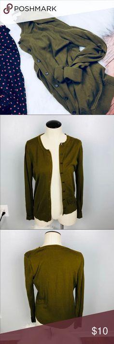 LOFT Cotton Cardigan Loft Cotton Cardigan  Olive Green (125) LOFT Sweaters Cardigans