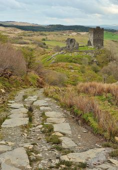 The remains of Dolwyddelan Castle, built in the 13th century by Llywelyn the Great - Conwy, Wales