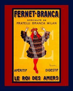 VINTAGE POSTER ART  ~ Cappiello ~ Art Nouveau FERNET-BRANCA   #TuscanyAgriturismoGiratola