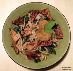 Tempeh and pumpkin noodle bowl