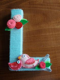 Yarn wrapped letter with felt flowers--DIY