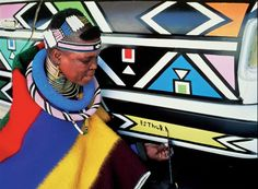 BMW Art Car: 1991 BMW The Art Car was the first to have been signed by a woman. This is not the only fact that makes this BMW so special. The South African artist Esther Mahlangu coa… Bmw, South Africa Safari, Contemporary African Art, South African Artists, African Tribes, African Men, African Style, Tribal Art, British Museum