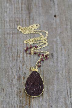 Burgundy Druzy Necklace with ruby stone chain by joydravecky www.joydraveckyjewelry.com boho jewelry, handmade jewelry