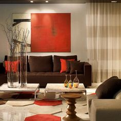 Brown And Orange Living Room Design Ideas, Remodels & PhotosDEB: Orange Accents....looking good!