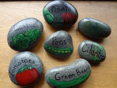 Hand Painted Stone Vegetable Garden Marker - 1 Stone via Etsy. Could totally make these! Vegetable Garden Markers, Indoor Vegetable Gardening, Urban Gardening, Pebble Painting, Stone Painting, Rock Painting, Hand Painted Rocks, Painted Stones, Growing Gardens