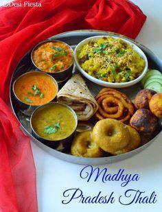 Madhya Pradesh Thali - Desi Fiesta Indian Food Recipes, Vegetarian Recipes, Cooking Recipes, Vegetarian Appetizers, Indian Desserts, Easy Cooking, Easy Recipes, India Food, Lunch Menu