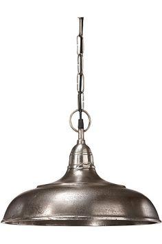 Kattovalaisin metallia. Kruunupistoke. Kattokuppi metallia, kiinnike kattokoukulle. Paksu metalliviimeistely. Halkaisija 35 cm, korkeus 25 cm. Paino 3,1 kg. Johdon pituus 120 cm. E27. Enintään 40 W.
