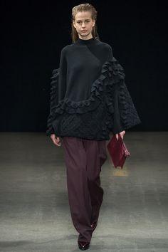 3.1 Phillip Lim Fall 2014 RTW. #PhillipLim #Fall2014 #NYFW ruffled sweater. plum oversized wide leg trousers.