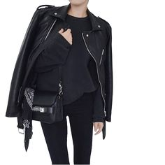 all black leather jacket black jeans