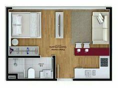 19 Trendy Ideas For Bedroom Layout Small Loft Small Apartment Plans, Studio Apartment Floor Plans, Studio Apartment Layout, Micro Apartment, Small Apartment Design, Studio Apartment Decorating, Small House Design, Small Apartments, Small House Layout