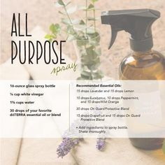 There is no need to pull out your rubber gloves and surgical masks when you clean your home. Using essential oils to create your own all-purpose spray is not only safe on the environment, but is safe for your family as well. This spray is perfect for hard surfaces in the kitchen, bathroom, etc.  My favorite way to make this spray is with lavender and lemon.