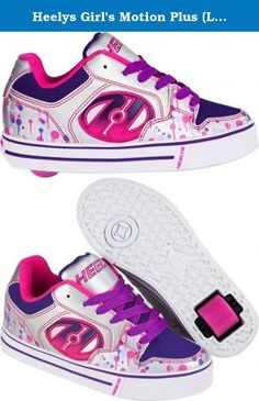 Heelys Girl's Motion Plus (Little Kid/Big Kid/Adult) Silver/Pink/Purple/Drip Sneaker 2 Little Kid M. The Motion Plus Roller Shoe features a vulcanized style outsole and a large embroidered logo on the quarter. It has low profile, removable wheels in the heel that transform these kicks into skates. Great for the child who always wants to be on the go!.