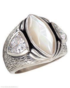 Out-of-this-world gorgeous. Cubic Zirconia, Mother-of-Pearl, Sterling Silver.