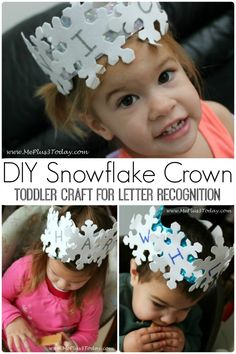 DIY Snowflake Crown - Toddler Craft for Letter Recognition - Love these! Perfect for the winter months! - www.MePlus3Today.com