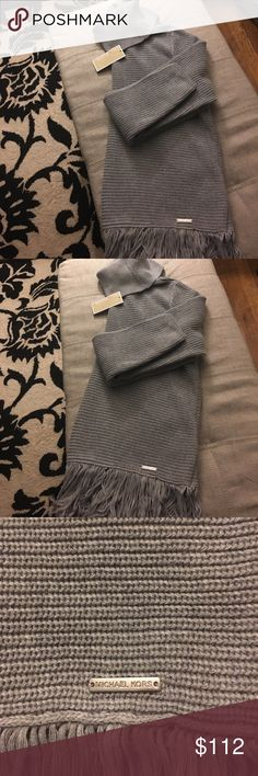 NWT Michael Kors Fringe Sweater size Lg NWT Micheal Kors cowl neck / turtleneck Fringe sweater ~ size Large~ length about 28 inches ~ so Cute with leggings and boots ~ wear it larger for oversized look ~Retail $125 Michael Kors Sweaters Cowl & Turtlenecks