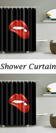 Fashion Bite Lip Print Shower Curtain