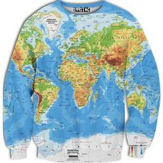 ☮♡ World Map Sweater ✞☆