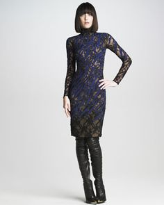 Tiger-Striped Lace Dress by Versace at Neiman Marcus. #NMFallTrends