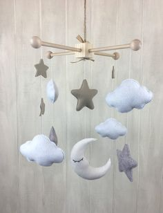 Baby mobile - moon star and cloud mobile - baby crib mobile - hanging mobile…