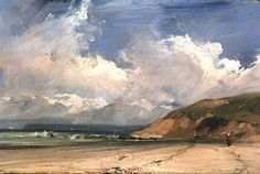Richard Parkes Bonington - Coastal scene - order at discounted prices! Landscape Art, Landscape Paintings, Landscapes, Seascape Paintings, Oil Paintings, Sky Art, Traditional Paintings, Sky And Clouds, French Art
