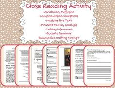 This is one of my favorite activities that I do with my students during the school year! This close reading packet touches on so many different reading/writing/speaking/listening strategies I don't think I can list them all. -Vocabulary Diffusion-Comprehension Check-Poetry Analysis-Making Inferences-Comparing & Contrasting-Socratic Seminar-And Many, Many More!