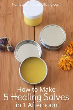 Make 5 healing salves in one afternoon with the weeds and herbs from your garden to treat bug bites, chapped skin, sunburn, sore muscles, and bruises. remedies baking soda remedies diy home remedies skin care remedies sore throat remedies treats Natural Health Remedies, Herbal Remedies, Cold Remedies, Cooking With Turmeric, Salve Recipes, Beeswax Recipes, Back To Nature, Menopause, Natural Medicine