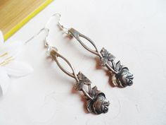 Hanging silver spoon earrings with flowers, sterling silver hooks, vintage jewelry, Scandinavian design by SelmaDreams on Etsy