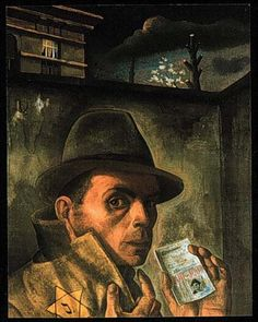Nussbaum. Self-Portrait with Jewish Identity Card, probably from late 1942. The Nazi occupation ID card states JEW in French: JUIF, and in Flemish: JOOD.