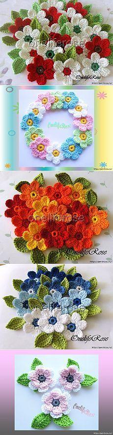 clases magistrales y esquemas de flores de ganchillo maravillosos.