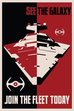 See the galaxy...Join the imperial fleet! I Amazing Star Wars propaganda posters! http://www.bluehorizonprints.com.au/canvas-art/star-wars-art/ #art, canvas prints,  X Large 40in x 60in $450, Large 24in x 32in $198, Medium18in x 24in $140, Small12in x 16in $74