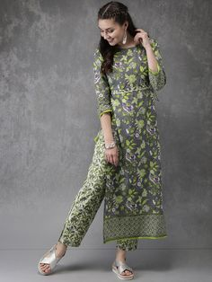 Kurta designs women - Anouk Women Grey & Green Printed Kurta with Trousers Simple Kurti Designs, New Kurti Designs, Stylish Dress Designs, Salwar Designs, Kurta Designs Women, Dress Neck Designs, Kurti Designs Party Wear, Designs For Dresses, Stylish Dresses