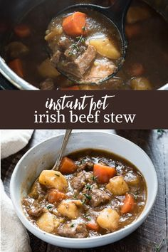 Instant Pot Irish Beef Stew is flavorful and hearty, with tender chunks of beef, potatoes, vegetables and Guinness stout! It's the perfect St. via patricks day food instant pot Instant Pot Irish Beef Stew - Flavor the Moments Instant Pot Pressure Cooker, Pressure Cooker Recipes, Slow Cooker, Pressure Cooking, Beef Recipes, Cooking Recipes, Chilli Recipes, Irish Recipes, Guinness Beef Stew