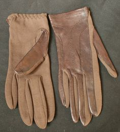 Vintage Leather & Fabric Driving Gloves St Michael 6 1/2 - Brown 1960s from Buckingham Vintage