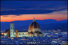 Duomo di Santa Maria del Fiore in Florence, Italy, taken from Piazza Michelangelo;  photo by nabilishes, via Flickr