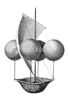19th century engraving of a helium balloon flying machine Royalty Free Stock Photo