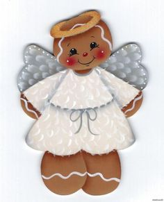 HP GINGERBREAD Angel FRIDGE MAGNET Wooden Christmas Crafts, Christmas Yard Art, Christmas Ornament Crafts, Christmas Images, Christmas Bulbs, Gingerbread Crafts, Christmas Gingerbread Men, Xmas Pictures, Crafts With Pictures