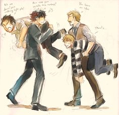"""""""Have you lost your colleague…?""""  Lol!  Jawn looks so docile being carried by someone."""