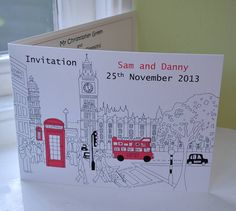 london themed wedding invitation