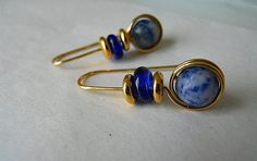 Sodalite Earrings with gold Wire wrapped gemstones by JoJosgems
