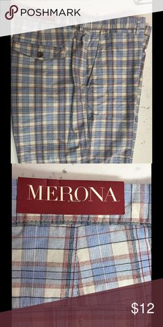 """tailored fit flat front plaid men's shorts Merona blue plaid checked shorts, flat front, New without tags, 2 front pockets, 1 horizontal coin pocket, 2 back pockets with button/flat closure 18.75"""" waist side to side 12"""" rise 10.5"""" inseam 20.5"""" long at side  my item K2) Merona Shorts Flat Front"""