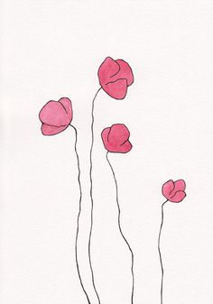 Original drawing. Minimalist flowers wall art. Red by siret
