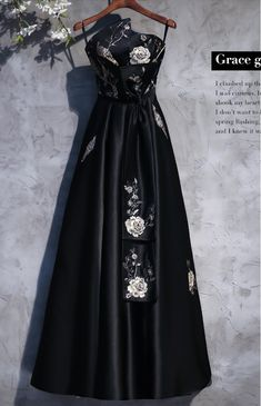 Black flower embroidery, satin strapless, long formal dress, black prom dress with sash,Sexy Custom Made ,New Fashion