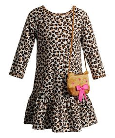 Look at this Youngland Brown Cheetah Drop-Waist Dress & Purse - Toddler & Kids on #zulily today!